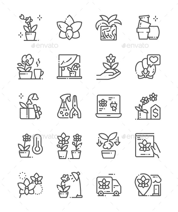 Orchids Line Icons - Miscellaneous Characters