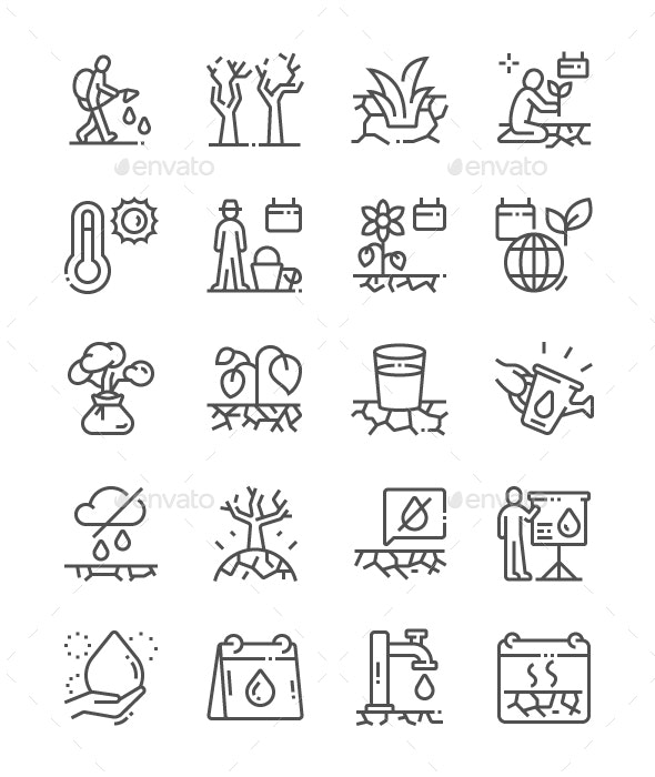 World Day to Combat Desertification Line Icons - Miscellaneous Characters