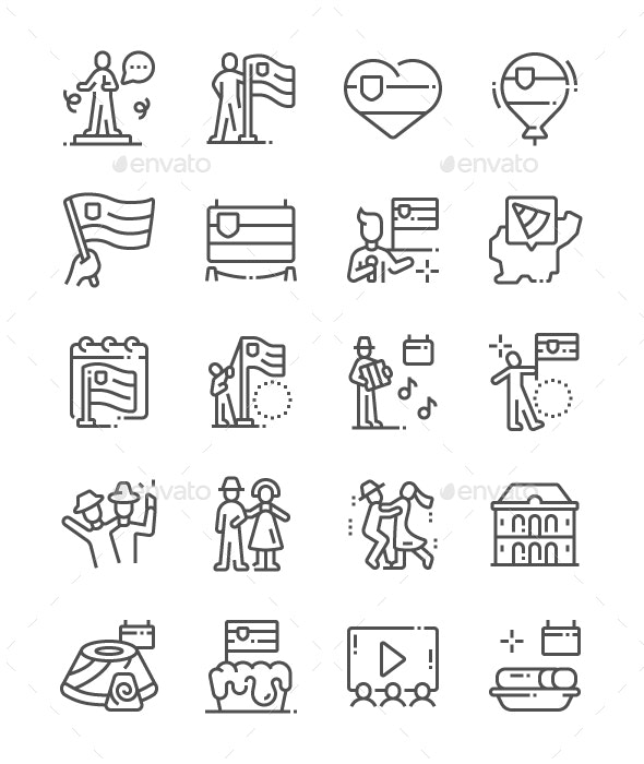 Slovenia Statehood Day Line Icons - Miscellaneous Characters