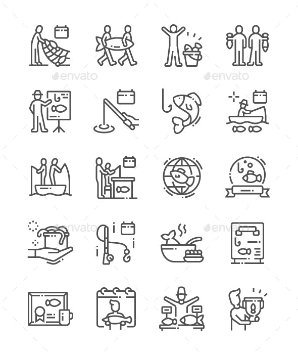 World Fisheries Day Line Icons - Miscellaneous Characters