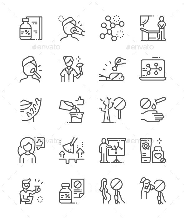 Trichloroacetic acid Line Icons - Miscellaneous Characters