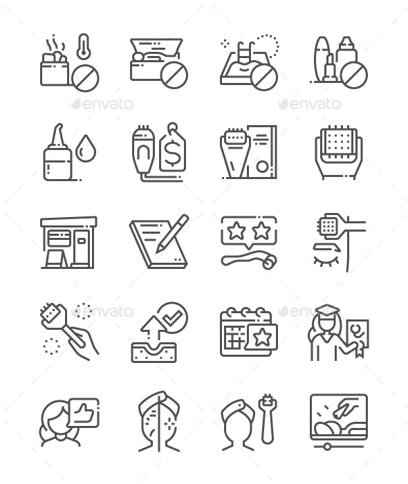 Microneedling Line Icons - Miscellaneous Characters