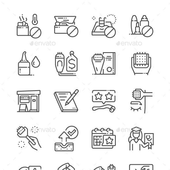 Microneedling Line Icons