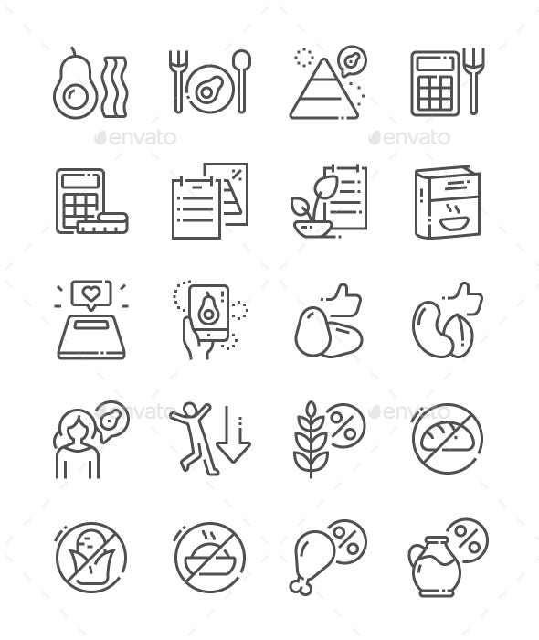 Keto diet Line Icons - Miscellaneous Characters