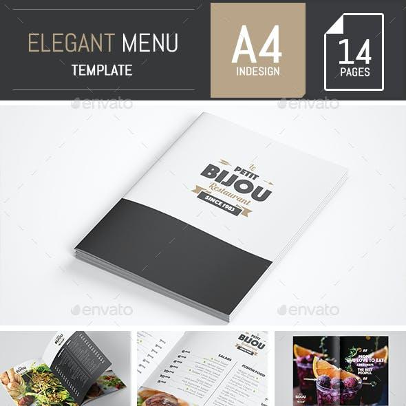 Elegant and Classy Food / Restaurant Menu A4 Brochure Template - Indesign