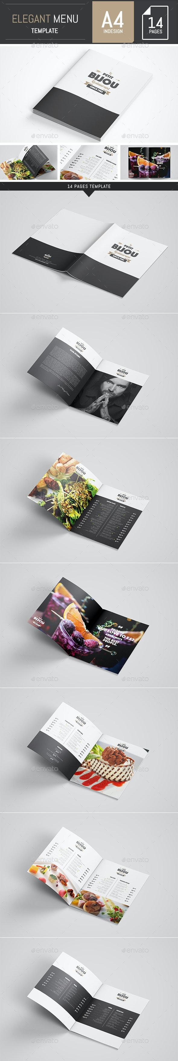 Elegant and Classy Food / Restaurant Menu A4 Brochure Template - Indesign - Food Menus Print Templates