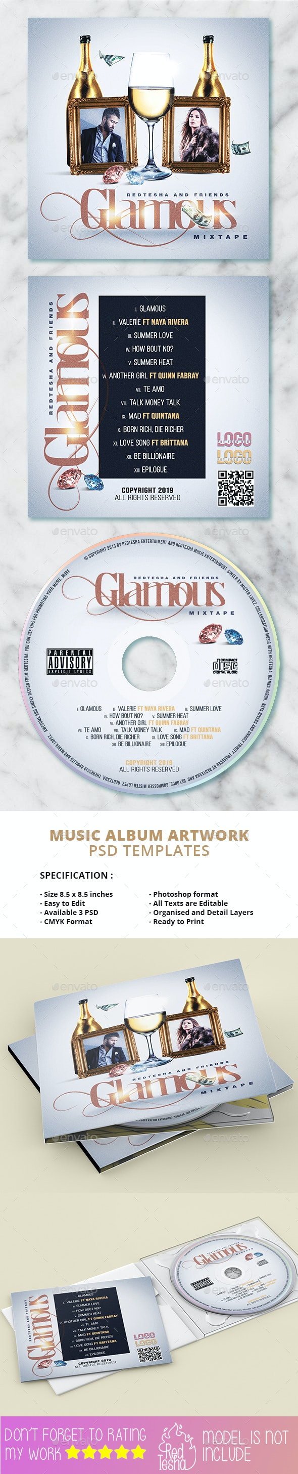 Glam Album Artwork Cover - CD & DVD Artwork Print Templates