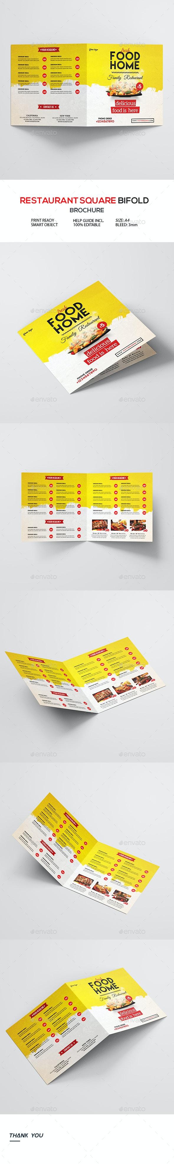 Bi-Fold Square Food Menu Template - Food Menus Print Templates