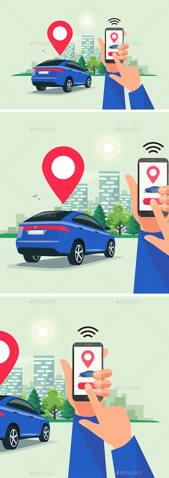 Connected Car Sharing Service Remote Controlled Via Smartphone App - Industries Business