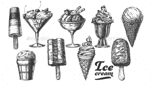 Assortment Frozen Ice Cream Set Vintage Vector - Food Objects