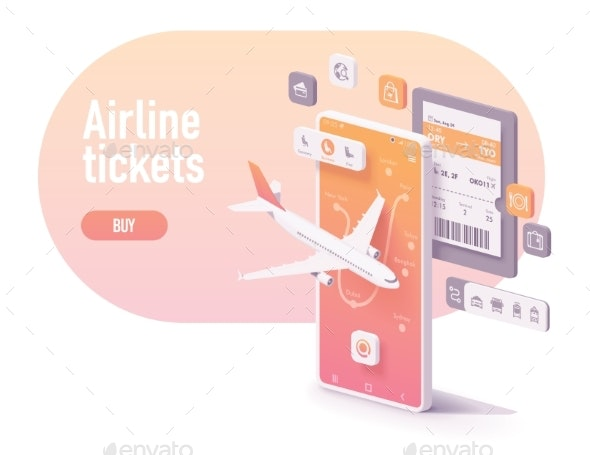 Vector Booking Airline Tickets App Concept - Travel Conceptual
