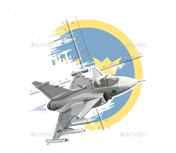 Cartoon Modern Military Fighter Plane - Man-made Objects Objects