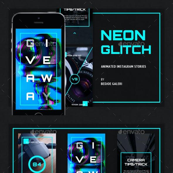 Neon Glitch Animated Instagram Story