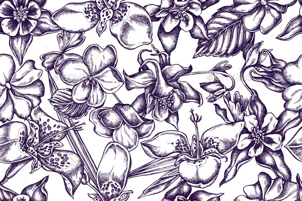 Artistic Pattern with Impatiens - Flowers & Plants Nature