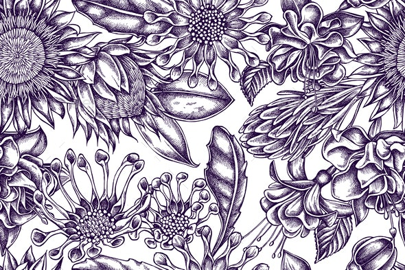 Artistic Pattern with Flowers - Flowers & Plants Nature
