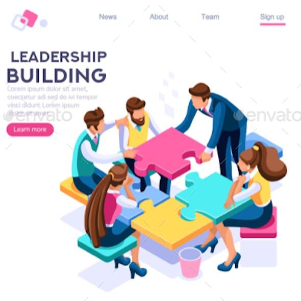 Leader Business Puzzle Building