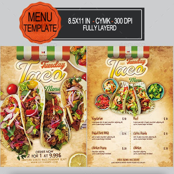 Taco Menu Flyer