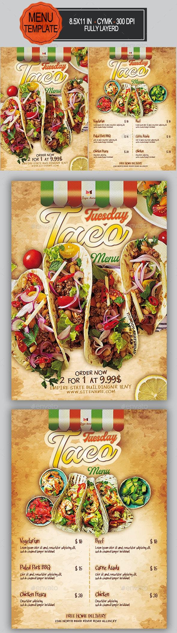 Taco Menu Flyer - Food Menus Print Templates