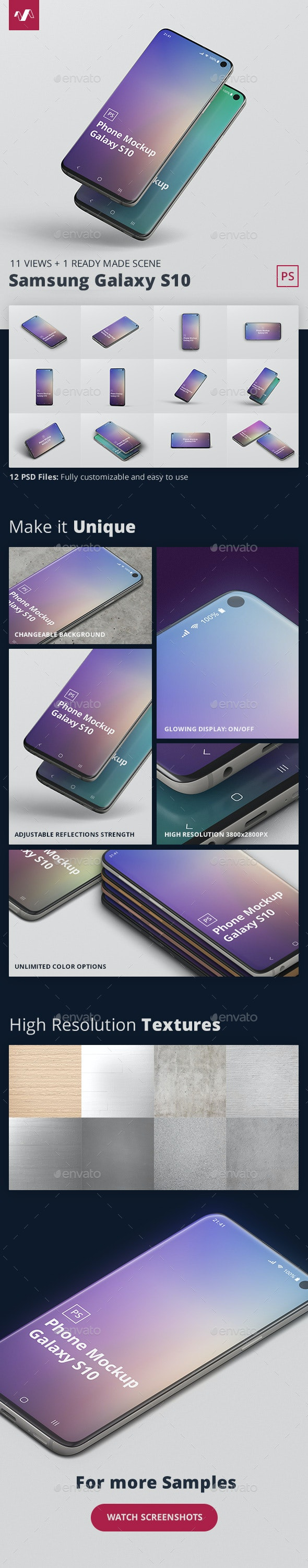 Phone Mockup Galaxy S10 - Mobile Displays