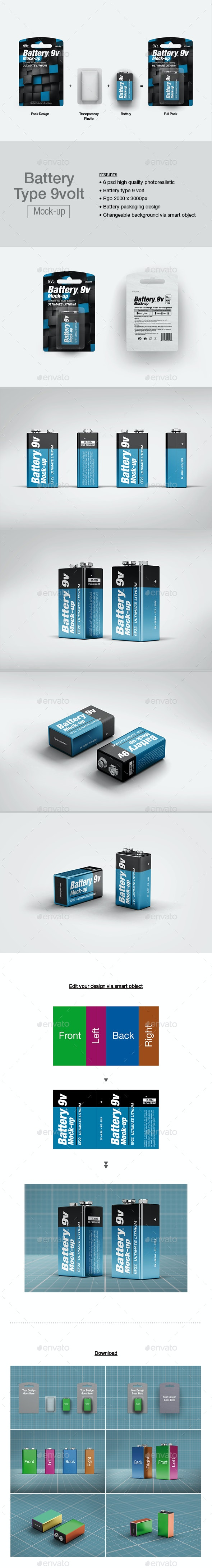 Battery 9v Mock-up - Packaging Product Mock-Ups