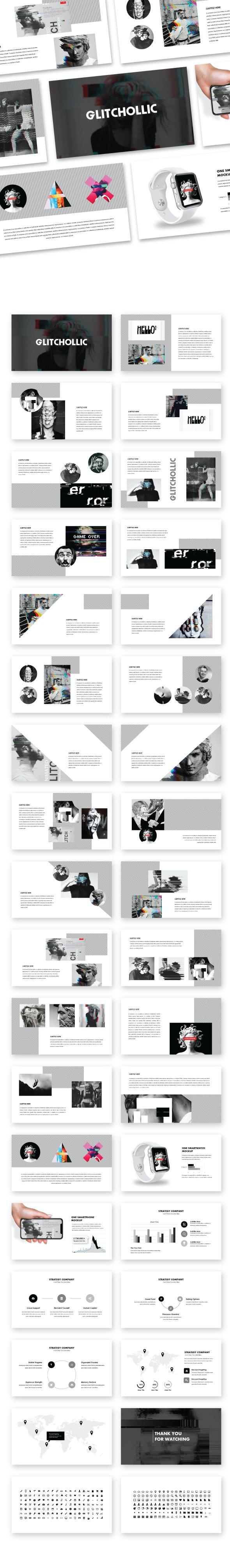 Glitchollic - Abstract & Creative GoogleSlide - PowerPoint Templates Presentation Templates