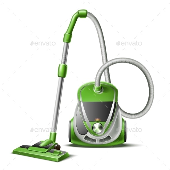 Vector Realistic Green Vacuum Cleaner 3d Icon - Objects Vectors