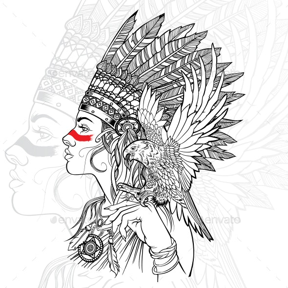 Girl Native American Indian Headdress Eagle Art - People Characters