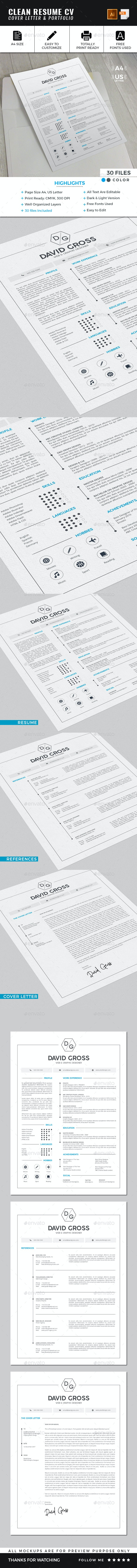 Clean Resume CV Template - Resumes Stationery