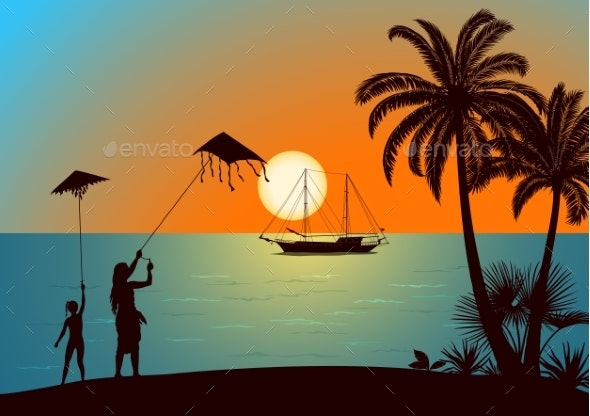 People with Kites on Tropical Beach - Landscapes Nature