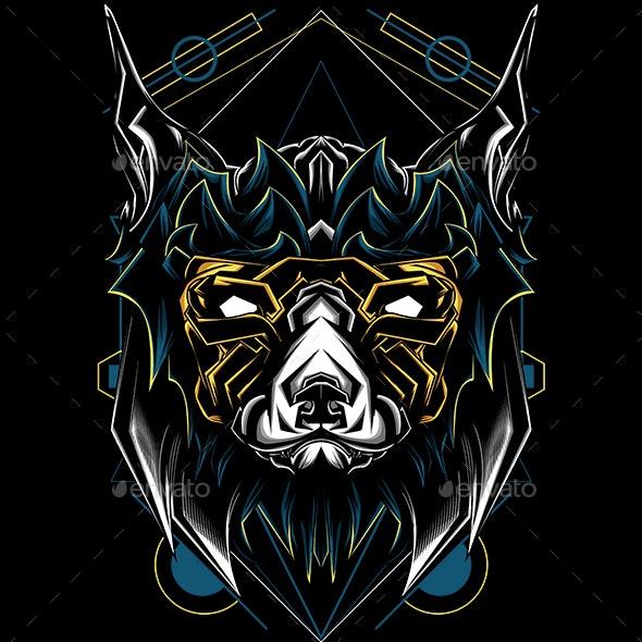 Etnic Dog Sacred Geometry - Animals Characters