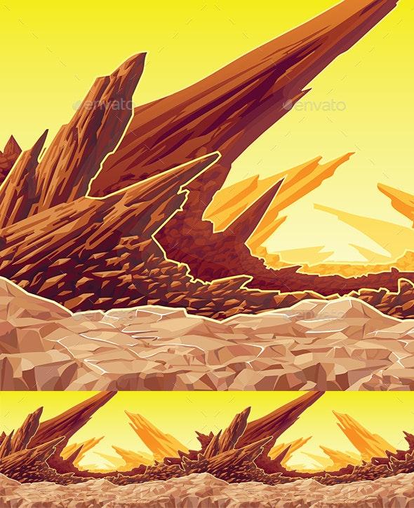 Background of Fantastic Mountain Landscape - Backgrounds Game Assets