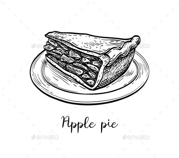 Ink Sketch of Apple Pie - Food Objects