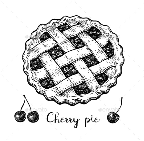 Ink Sketch of Cherry Pie - Food Objects