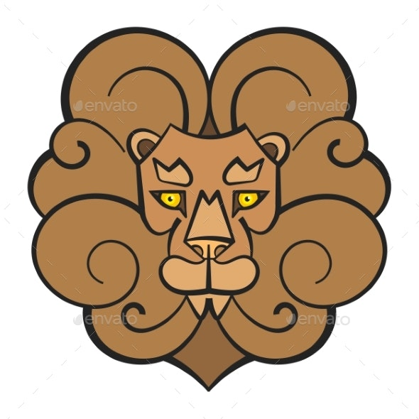 Hand Drawn Lion Coloring Page For Kids Vector - Animals Characters