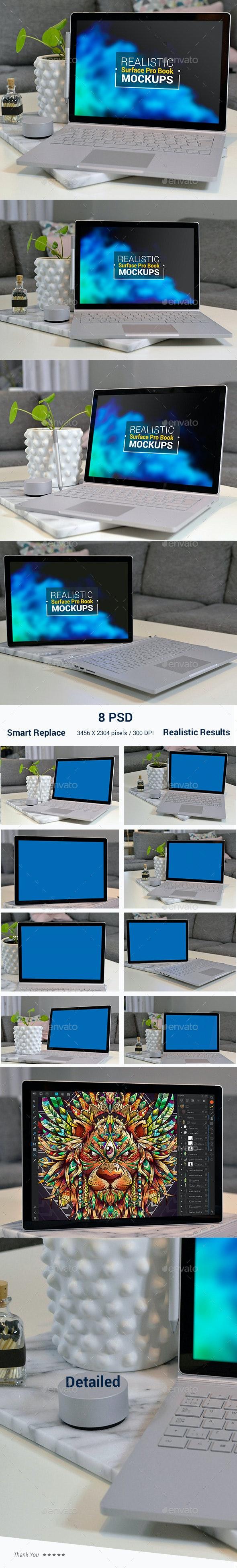 Surface Book Pro Realistic Mockups - Laptop Displays