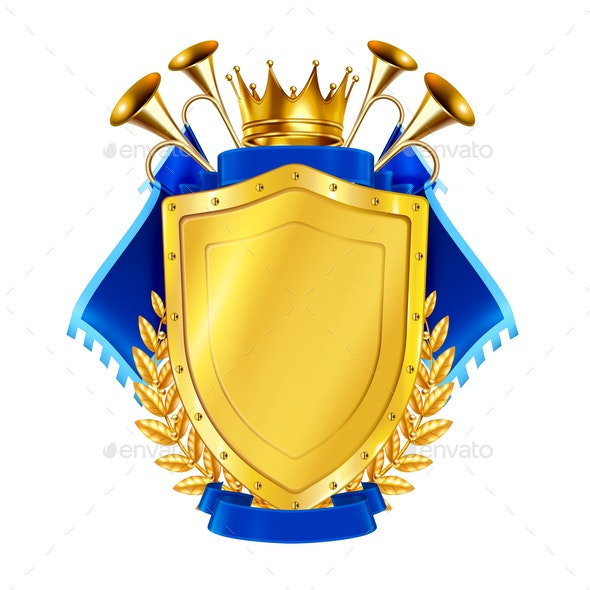 Golden Shield With Horns and Pennants - Miscellaneous Vectors
