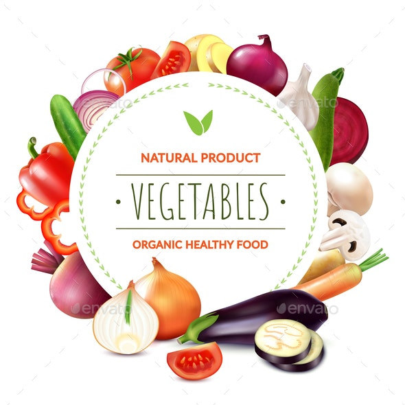 Organic Vegetables Round Composition - Food Objects