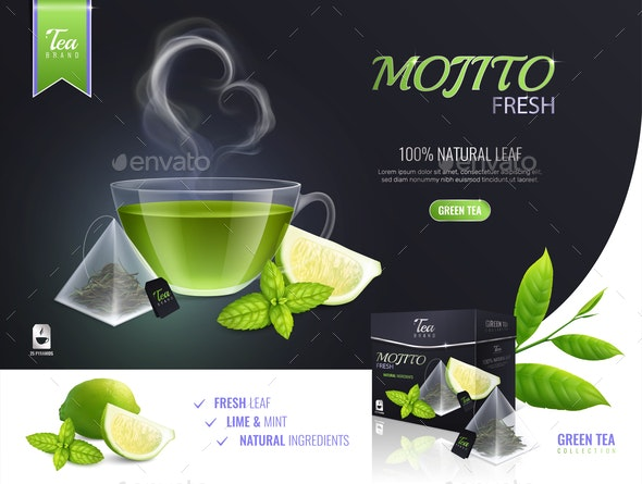 Mojito Tea Collection Composition - Miscellaneous Vectors