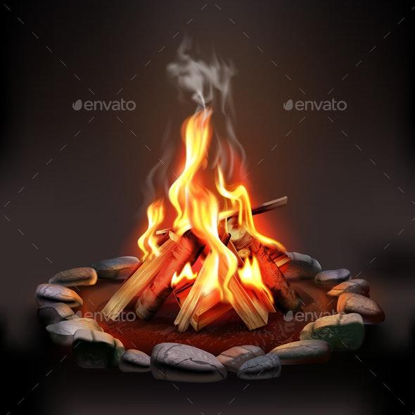 Burning Wood Campfire - Miscellaneous Vectors
