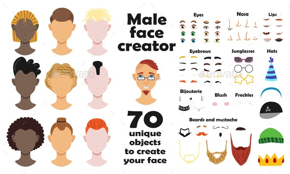 Unique Objects to Create Male Face - People Characters