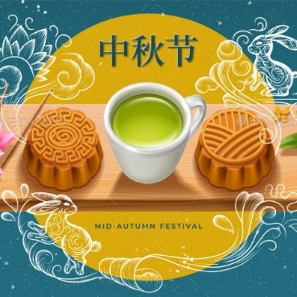 Mid Autumn Festival Greeting Card with Mooncakes