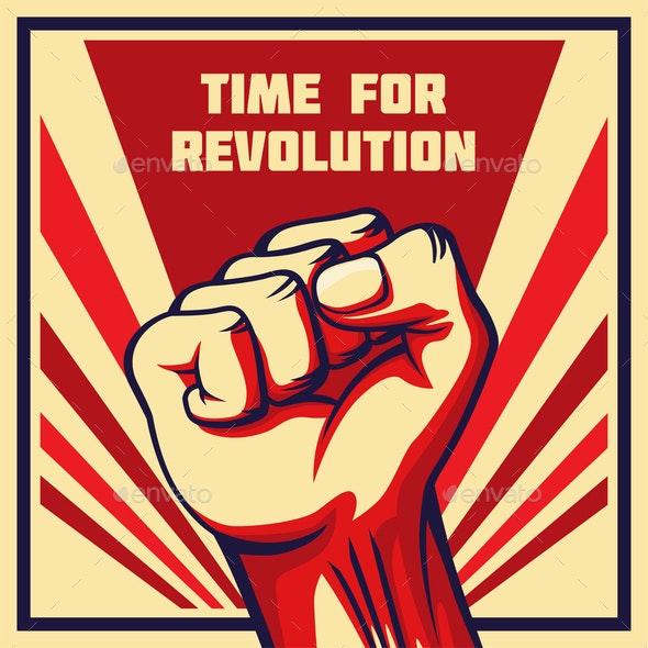 Vintage Style Vector Revolution Poster Raised Fist - Miscellaneous Conceptual