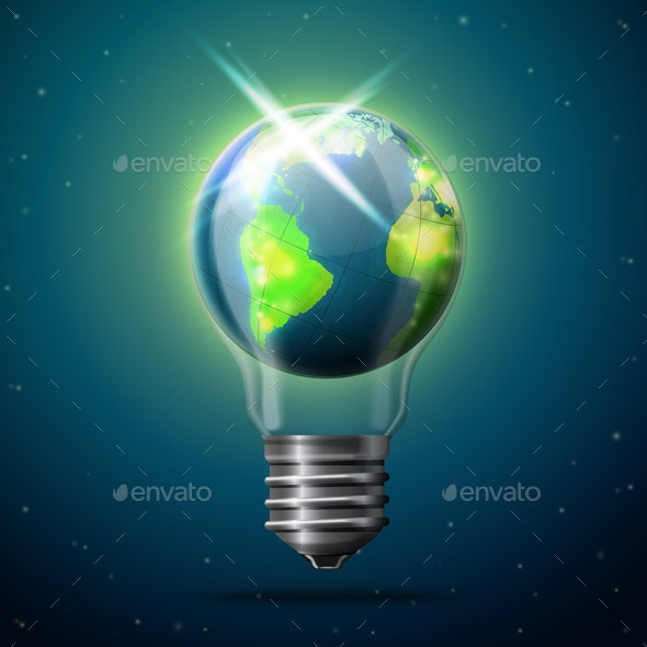 Vector Illustration Of Earth In Space Idea Bulb - Miscellaneous Vectors