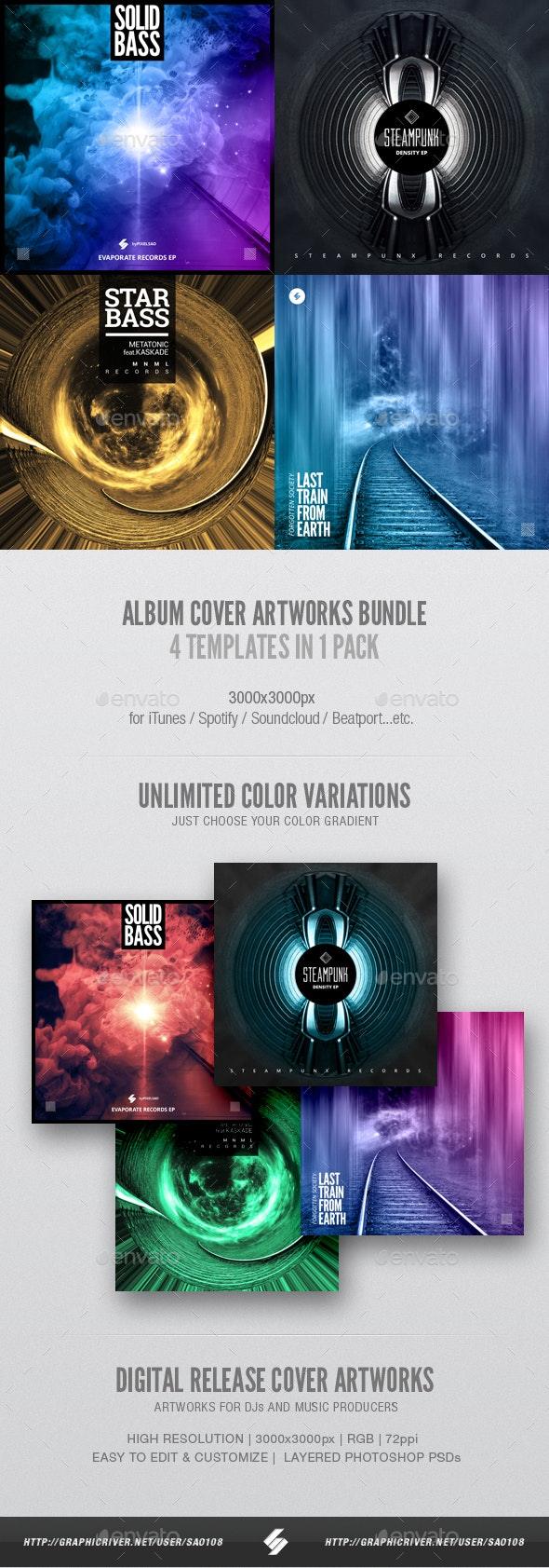 Music Album Cover Artwork Templates Bundle 17 - Miscellaneous Social Media