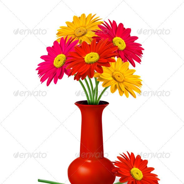Bunch of flowers in a vase.