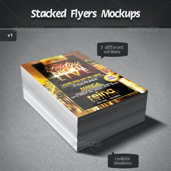 Stacked Flyers Mockups