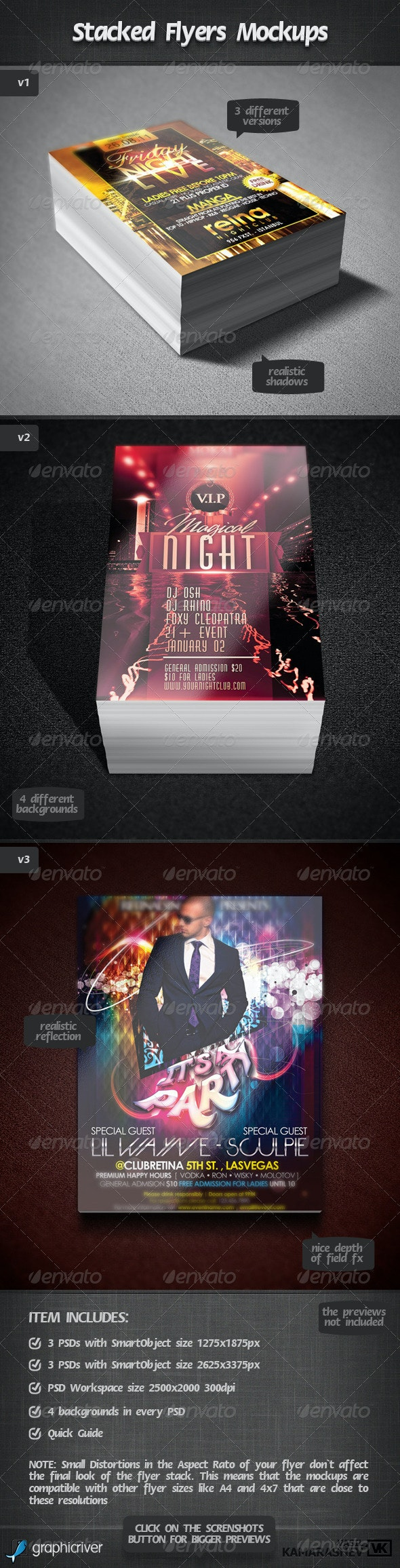 Stacked Flyers Mockups - Flyers Print