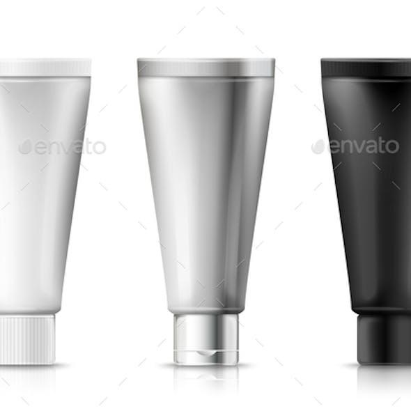 Vector Set Cream Tubes, Plastic, Aluminum, Black