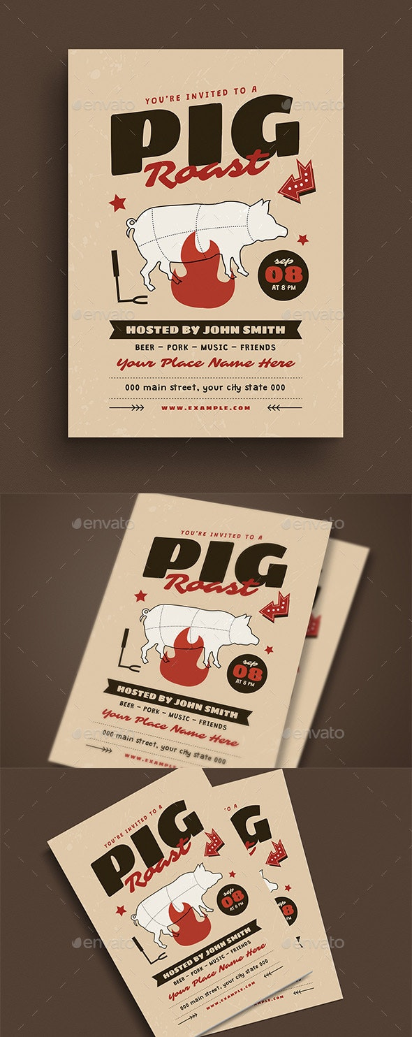 Pig Roast Event Flyer - Flyers Print Templates