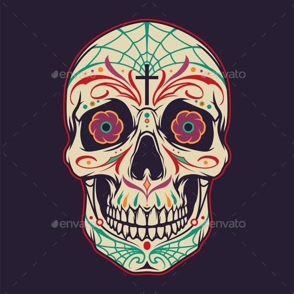 Vintage Mexican Sugar Skull Colorful Template - Miscellaneous Vectors